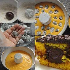 Ingredientes 1 xícara de farinha de trigo 1 xícara de açúcar ½colher de sopa de fermento em pó 2 cenouras grandes ½xícara de óleo 2 ovos Brigadeiros (já