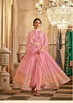 58cfb62fc5f New Pink Embroidered Split Anarkali Gown