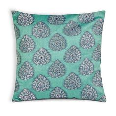 Teal Silver Chanderi Silk Pillow Cover