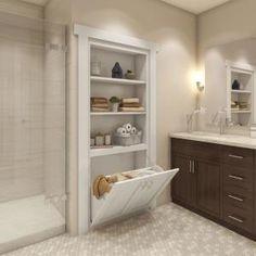 Bathroom Renos, Bathroom Closet, Small Bathroom Renovations, Bathroom Cabinetry, Bathroom Remodel Small, Narrow Bathroom, Small Space Bathroom, Neutral Bathroom, Bathroom Design Small