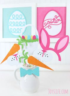 Photo props using the Silhouette Cameo! More Easter Party Ideas on this post!    #SnackPackMixins #Ad #SilhouetteCameo #EasterParty #partyfood #partyplanning #partyideas #oreo