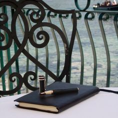 The Sophia Loren Limited Edition Pen and leather journal from Montegrappa, by the sea in Taormina, Sicily. #TaorminaFilmFest #MontegrappaTaormina #TaoFF61