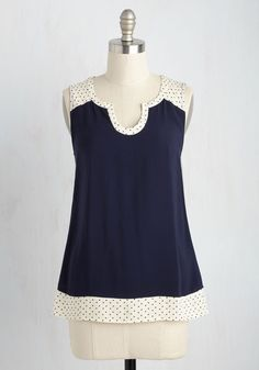Notch so Fast! Top in Navy Dots by ModCloth - Blue, Polka Dots, Casual, Sleeveless, Woven, Good, Exclusives, Variation, Private Label, Scoop, Mid-length, Tan / Cream, Solid, Work, Summer, SF Fit Shop