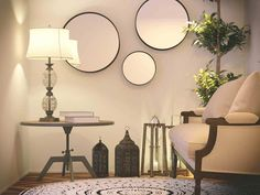 Weekly Roundup: Decorating on a Dime. Using mirrors on the walls can be more cost effective than traditional artwork. Mirror Decor Living Room, Home Living Room, Living Room Designs, Wall Decor, Decorating On A Dime, Apartment Lighting, Small Wall Mirrors, Cool Walls, Decoration