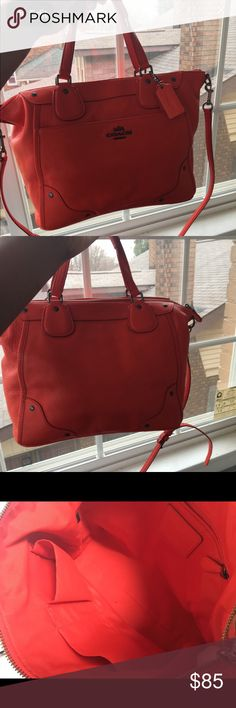 Cardinal Red Coach Mickie Beautiful! Barely used. Tiny ink spot on inside. Outside perfect!!! This bag is in like new shape just never carry. :) Bags Shoulder Bags