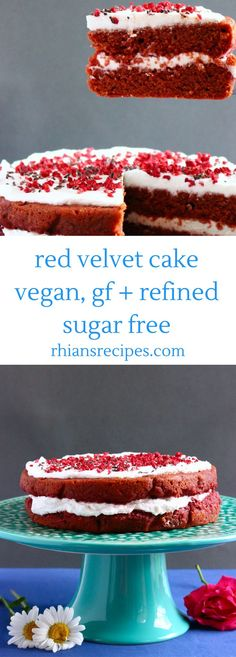 This Red Velvet Cake is so fluffy it's levitating! It's vegan gluten-free and refined sugar free and much healthier than the traditional version. Also includes a recipe for dairy-free cream cheese and the cake is free from artificial red food colouring Sugar Free Desserts, Vegan Dessert Recipes, Sugar Free Recipes, Free From Recipes, Sugar Free Cakes, Healthy Cake Recipes, Cooking Recipes, Cheap Recipes, Baking Desserts