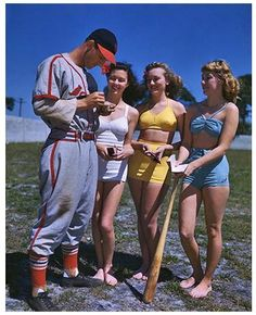 Stan with some fans at Spring Training, 1951.