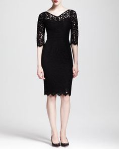 Half-Sleeve V-Neck Lace Dress by Dolce & Gabbana at Neiman Marcus. on sale $1305
