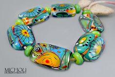 Ocean Beauty  Lampwork Glass bead Set by Michou P by michoudesign, $169.00