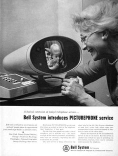 Once upon a time, the videophone was a futuristic technology on par with flying cars. It symbolized futuristic communication. Sadly, the reality of FaceTime and Skype didn't quite measure up to these retro futuristic concepts. Vintage Advertisements, Vintage Ads, Vintage Prints, Vintage Space, Bell Pictures, The Jetsons, Old Computers, Old Phone, Look Vintage