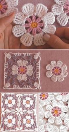How to Crochet Flower, Make a Granny Square and Join Ways To Join Granny Squares – How ToMake a beautiful mitered granny square dishcloth!Crochet Granny Square With 4 Petals FlowerSunburst Flower Granny Square Free Crochet Pattern Crochet Flower Squares, Crochet Motifs, Crochet Blocks, Granny Square Crochet Pattern, Crochet Flower Patterns, Crochet Designs, Crochet Flowers, Crochet Stitches, Flower Granny Square