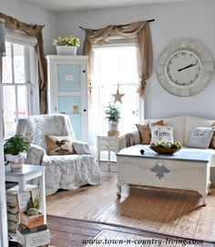 Country Decorating Style in a Farmhouse Family Room - Live Creatively Inspired- LOVE the curtains!