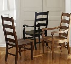 Originally a European design based on the Windsor chair, the ladderback chair has since become an American icon. Our Wynn Ladderback Dining Chair is crafted in the Shaker tradition with a scooped contoured seat. Wicker Dining Chairs, Dining Chair Cushions, Pedestal Dining Table, Dining Arm Chair, Extendable Dining Table, Kitchen Chairs, Room Chairs, Dining Room, Dining Bench