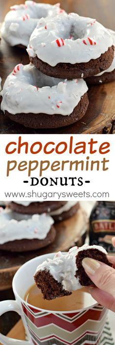 This Baked Chocolate Peppermint Donuts recipe is made with BAILEYS Coffee Creamer! Super moist and decadent, these are a delicious breakfast treat for the holidays!