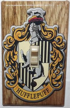 Happiness can be found in the darkest of times, if only one remembers to turn on the light with this Hufflepuff light switch cover Hufflepuff Bedroom, Hufflepuff Pride, Harry Potter Bedroom, Harry Potter Houses, Harry Potter Printables, Yule Ball, Harry Potter Universal, Hogwarts, Light Switch Covers