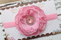 Pink / Blush flower headband- newborn, infant, child, teen or adult sizes. $11.50, via Etsy.