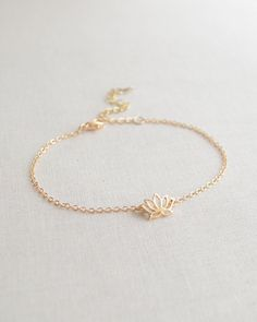 Lotus flower bracelet - gold or silver flower bracelet - 2151