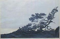 ✨ TORBJÖRN ZETTERHOLM, Swedish (1921-2007) - Skärgårdstall. Träsnitt, 66 x 48 cm ::: Colour woodcut