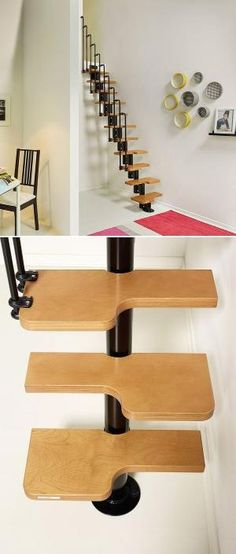 The Nice2 stair kit is an adjustable space-saving set of steps with an alternating tread design for maximum space utilization. A good upgrade to a loft ladder. I'd carpet them for the kitty cat.   Tiny Homes by vivian