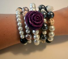 love this! Day of The Dead  Rockabilly Bracelet With Purple Rose