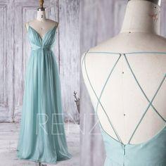 2016 Light Teal Chiffon Bridesmaid Dress V Neck von RenzRags