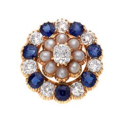 Victorian Sapphire and Diamond Brooch