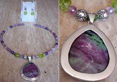Purple Amethyst Necklace c/w Zoitsite Sterling Silver Pendant - Sterling Silver Finish - 20lg (51cm) - Free Earrings