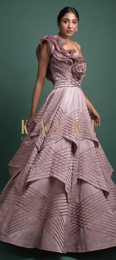Mauve Ball Gown In Milano With Organza Ruffles On The Shoulder Online - Kalki Fashion Indowestern Gowns, Reception Gown, Western Wedding Dresses, Wedding Function, Party Wear, Mauve, Evening Gowns, Ruffles, Bodice