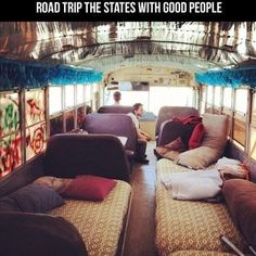 I would absolutely LOVE to overhaul a school bus & take it on a roadtrip!! (or even an old RV)