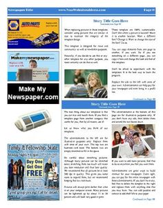 "All-purpose inside page template with 3 columns and advertisements. Try this 11""x14"" newspaper template now using our Free Cloud…"