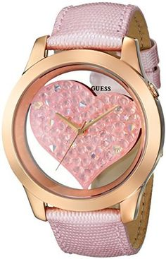 eecb1cb2f GUESS Women's U0113L5 Heart Inspired Pink Genuine Leather Watch with Rose  Gold-Tone Case &