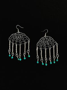 Silver Chandelier Earrings Gypsy Earrings Turquoise Crochet Boho Jewelry Silver Wire Earrings Gift for Mom Unique Bridesmaids Jewelry Boho Jewelry, Unique Jewelry, Silver Jewelry, Turquoise Jewelry, Jewelry Gifts, Silver Chandelier, Chandelier Earrings, Handmade Wire, Etsy Handmade