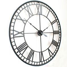 Extra Large Roman Big Vintage Black Skeleton Wall Clock