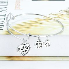 """""""I Love My Rescue Dog"""" Hollow Dog Paw Charm Adjustable expandable wire Animal Lover's bracelets"""