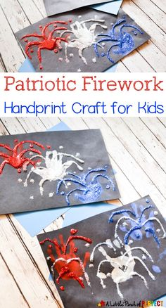 Patriotic Firework Handprint Craft to Celebrate the of July, DIY and Crafts, Patriotic Firework Handprint Kids Craft: An adorable handprint craft to make when it's time to celebrate! of July, New Year's). 4th July Crafts, Fourth Of July Crafts For Kids, Holiday Crafts For Kids, Patriotic Crafts, Crafts For Kids To Make, Summer Crafts, 4th Of July, Craft Stick Crafts, Fun Crafts