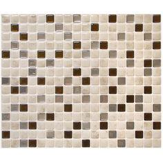 "Smart Tiles Mosaik Minimo Cantera 11.55"" x 9.64"" Peel & Stick Wall Tile in Marble Beige, Gray & Bronze"