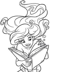 Ariel reading a book coloring page Ariel Coloring Pages, Disney Princess Coloring Pages, Disney Princess Colors, Cartoon Coloring Pages, Coloring Book Pages, Coloring Pages For Kids, Art Drawings For Kids, Disney Drawings, Disney Kunst