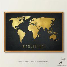 Schicke Gold Weltkarte World Map Print schwarz und von WordBirdShop