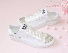 7ac98bd8325e Crystal Wedding Converse Mono White All Stars Chuck Taylors