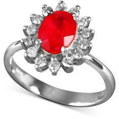 Royalty Inspired by EFFY Ruby (1-1/2 ct. t.w.) and Diamond (1/2 ct. ($898) ❤ liked on Polyvore featuring jewelry, rings, white gold jewelry, ruby jewelry, 14k ring, oval cut diamond ring and round cut rings