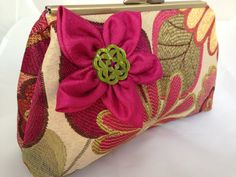RASPBERRY/GREEN  CLUTCH bag purse by ClutchChemistry on Etsy