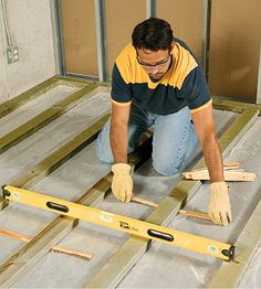 Install a wooden subfloor to help insulate flooring from cold concrete.