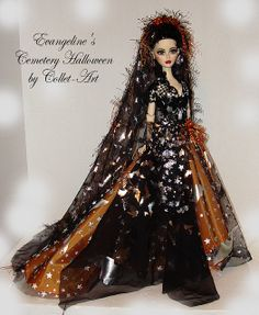 "2010 TONNER WILDE IMAGINATION 17"" EVANGELINE GHASTLY OOAK FASHION GOWN ""CEMETERY HALLOWEEN"" BY COLLET-ART   Flickr - Photo Sharing!"