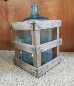 Old 5 Gallon water jug Spring water demi john-car boy with original wood crate aqua blue glass heavy thick water cooler bottle cottage chic