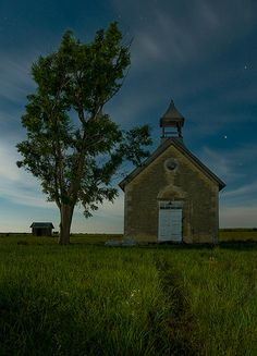 Kansas is flush with old one-room schoolhouses like this one, located near Cedar Point in the Flint Hills.