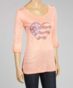 Coral Heart Flag Roll-Tab Sleeve Top | zulily