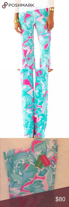 """NWT XXS Pink Sands Palazzo Georgia Lilly Pulitzer Simply bright, beautiful, and adorable Georgia May Palazzo Pants!  Print: Tropical Pink - Pink Sands w/ 33"""" inseam. Guaranteed new, authentic, & with tags.  Retail  $138.00.  96% Rayon & 4% Spandex w/elastic waistband. Please see the sizing chart included from Lilly Pulitzer's website to help find your perfect fit!  Please see my other Lilly listings to bundle and save! 🌴💗🌴💗  Thank you! 💲Price is firm💲 Lilly Pulitzer Pants Leggings"""