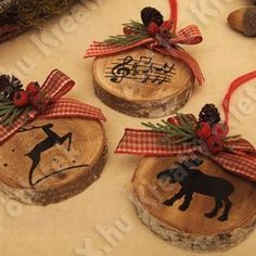 In this DIY tutorial, we will show you how to make Christmas decorations for your home. The video consists of 23 Christmas craft ideas. Wood Ornaments, Diy Christmas Ornaments, Christmas Art, Christmas Projects, Holiday Crafts, Christmas Holidays, Woodland Christmas, Homemade Christmas, Rustic Christmas