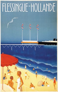 Een oude prent.... Vlissingen badstrand Retro Poster, Vintage Posters, Deco, Travel Posters, History, Movie Posters, Painting, Holland, Art Deco