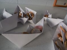 noah's ark snack: origami boats with animal crackers :) maybe a lot of work, but cute!